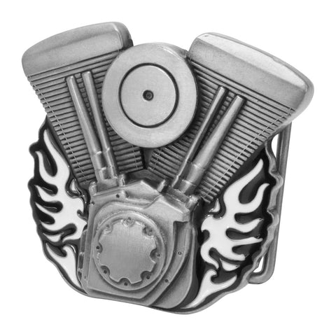 Unisex V-Twin Motorcycle Engine Bike Enamel Flames Belt Buckle