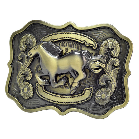 Unisex Running Horse Country Western Belt Buckle