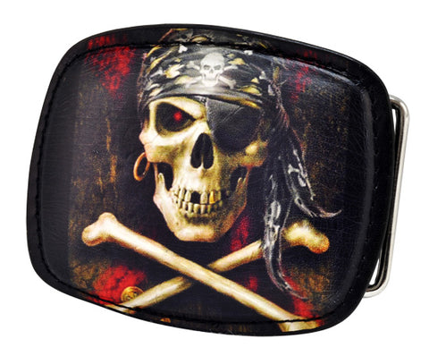 Black Leather Skull & Crossbones Belt Buckle Pirate