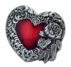 Red Enamel Heart With Silver Rose Unisex Belt Buckle