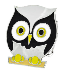 Silver & Black Owl Belt Buckle Cute Girly Big Eyes Animal