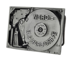 Nerd Equals Big Hard Drive Belt Buckle Funny
