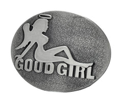 Good Girl Angel MUDFLAP Belt Buckle Brushed Metal