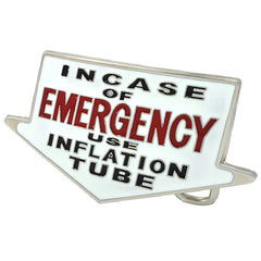 CLOSEOUT In Case Of Emergency Use Inflation Tube Belt Buckle