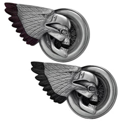 Unisex Skull Eagle Biker Wheel Demon Belt Buckle Silver Tone