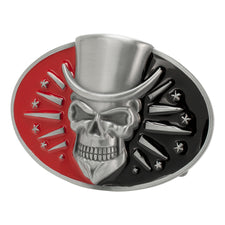 Red & Black Skull Top Hat Belt Buckle Lucky 13 Tattoo