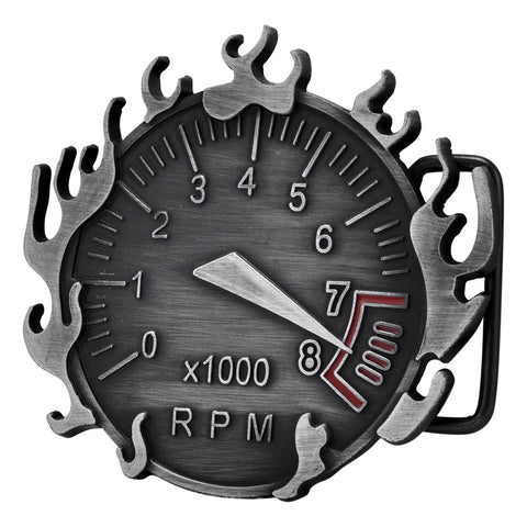 Men's Flaming RPM Redline Gauge x100 Fast Cars Belt Buckle
