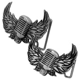 Men's Vintage Mic With Wings Musical Old Fashioned Belt Buckle