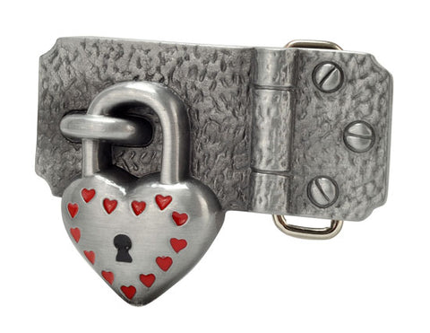 Heart Padlock on Hinge Belt Buckle