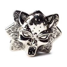 "Single | Generic | Bet Buckle | Daemon Face | Silver | 3.50"" L x 3.00"" H"
