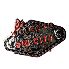 "Single | Generic | Belt Buckle | ""Welcome to Fabulous Sin City Nevada"" 