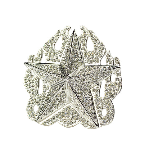 "Single | Buckle Rage | Belt Buckle | Star and Flames with Rhinestones | Silver | 3.50"" L x 3.50"" H"
