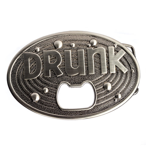 "Bottle Opener Belt Buckle Drunk Oval Buckle Fits 1.5"" Standard Width Belt"