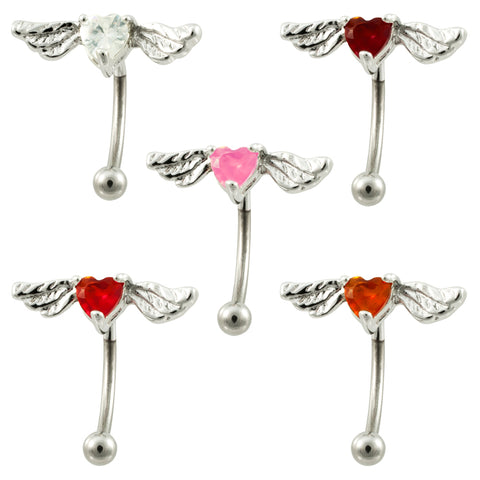 16g Stainless Steel Winged Heart Curved Eye Brow Ring