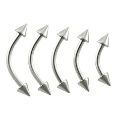 16G Curved Spike Steel Eyebrow Ring