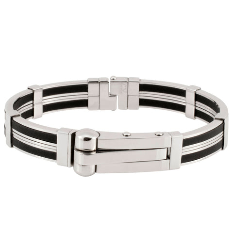 Steel and Rubber Cuff Bangle Bracelet with Spring Clasp