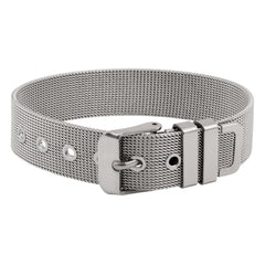 Mesh Stainless Steel Band Bracelet with Buckle