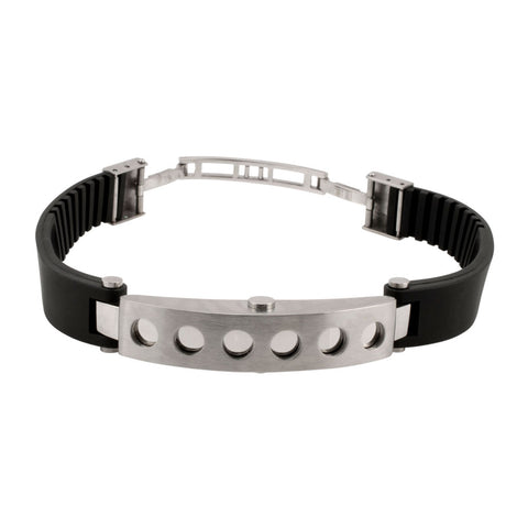 Black Rubber and Drilled Steel Industrial Bracelet