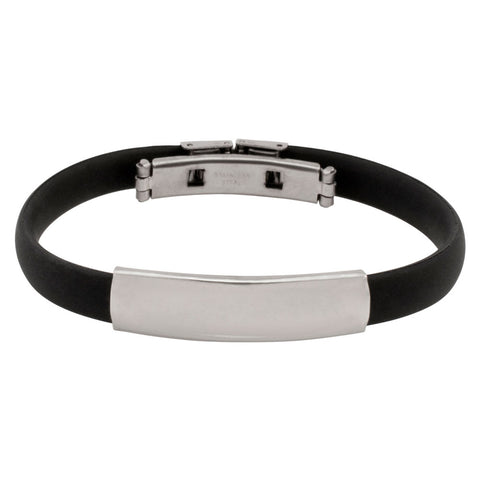 Thin Rubber and Steel Adjustable Fashion Bracelet