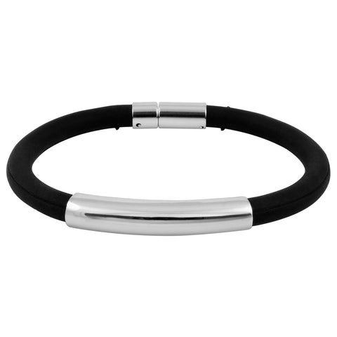 "8"" Unisex Black Rubber and Stainless Steel Bracelet with Clasp"