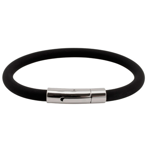 Soft Black Rubber Bracelet with Fancy Stainless Steel Clasp