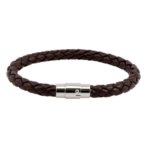 Brown Braided Leather Bracelet with Stainless Steel Clasp
