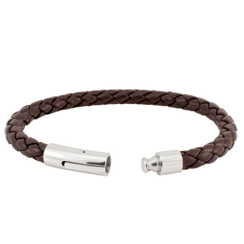 Brown Braided Leather Bracelet with Fancy Stainless Steel Clasp