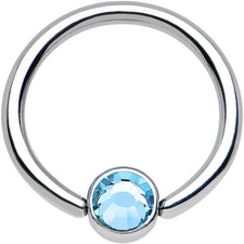 "14g 1/2"" Light Blue Jeweled Captive Bead Ring"