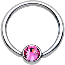 "14g 1/2"" Pink Jeweled Captive Bead Ring"