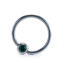 Stainless Steel Captive Bead Ring CBR with Green Ball Closure 14g 14mm