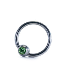 Stainless Steel CBR Captive Bead Ring with Light Green Ball Closure 14g 10mm