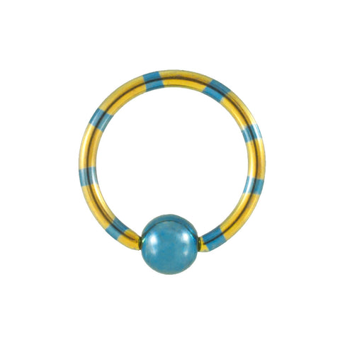 Yellow and Blue Striped Titanium Captive Bead Ring CBR 14G