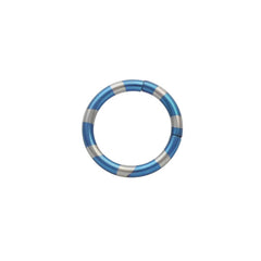 Blue and Silver Anodized Titanium Segment Ring