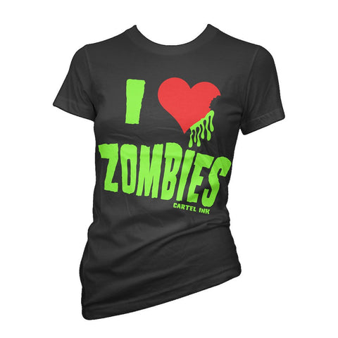 Cartel Ink I Love Zombies Women's Black 100% Cotton T-Shirt