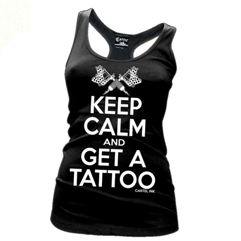 Cartel Ink Keep Calm & Tattoo Women's Black Tank Top Shirt