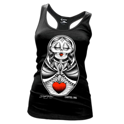 Cartel Ink Scared Heart Doll Womens Black Tank Top Shirt