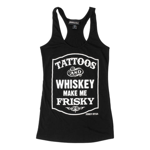 Pinky Star Womens Tattoos & Whiskey Make Me Frisky Black Tank