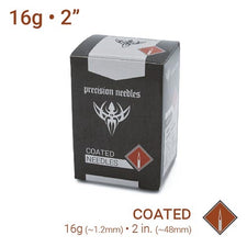 "16g Sterilized 2"" Coated Precision Piercing Needles - Box of 100"