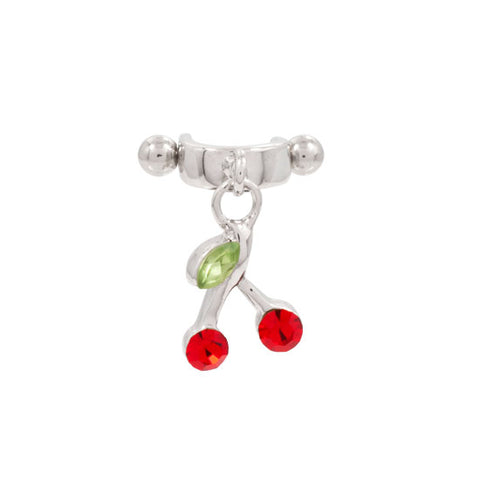 Dangling Cherry Stirrup Helix Cartilage Ear Piercing