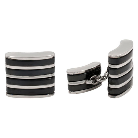 Cuff Links - Stainless Steel & Titanium Cufflinks Chain Design B