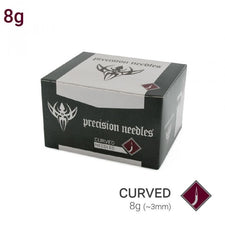 8g Sterilized Curved Precision Piercing Needles - Box of 50