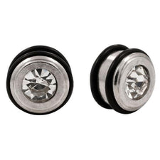 Pair | Generic |Stainless Steel Bling CZ Ear Plug Bullet Tunnel