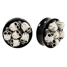Pair | Resin | 3D Skull Double Flared PLUGS | Stainless Steel | Gauge: 7/8""