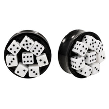 Resin 3D Dice Design Double Flared Ear Plugs