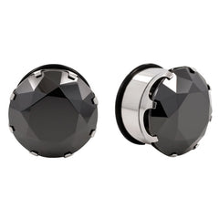 Prong Set Black Cz Gem Flesh Tunnels