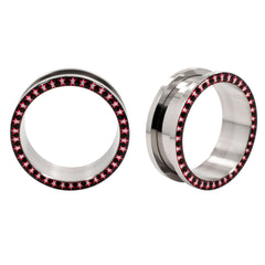 Star Logo Inlay Stainless Steel Screw Ear Tunnels Flared Plugs