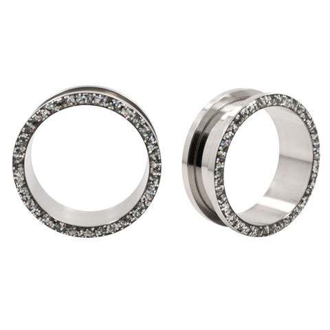 Glitter Inlay Stainless Steel Screw Ear Tunnels Flared Plugs