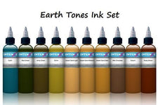 Earth Tones Color Tattoo Ink Set - 10 Bottles - 2oz