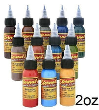 Eternal Tattoo Ink - Muted Earth Tone Color Set of 12 - 2oz Bottles