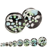 Seaspray Agate Hand Blown Pyrex Glass Plugs